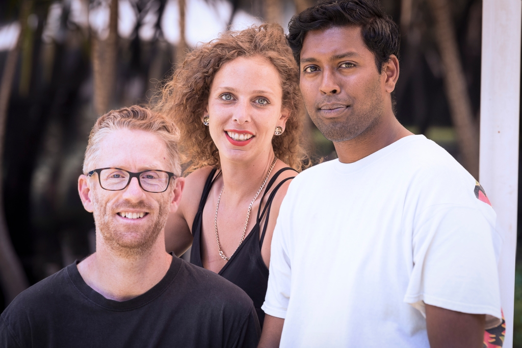 Image of the three Peer Navigators from Living Positive Victoria's Peer Navigation Program: Anthony, Sarah,  and Aashvin.